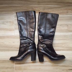 Franco Sarto Black Leather Boots - Size 10